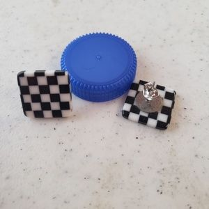 Vintage checkerboard design earrings
